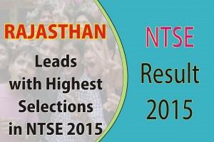 NTSE Result 2015 Rajasthan