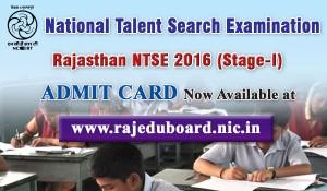 Rajasthan NTSE 2016 Admit Card