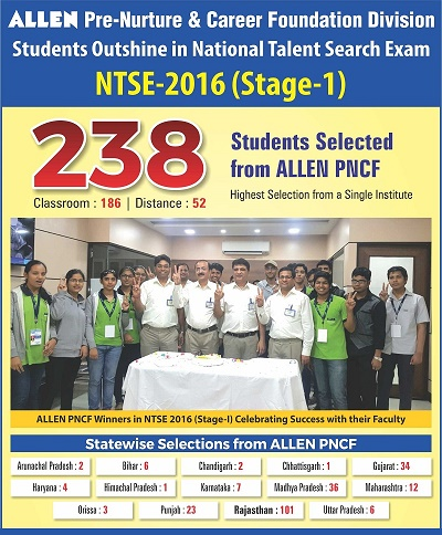 ALLEN NTSE Stage-I Result 2016