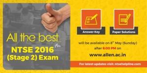 NTSE Exam 2016 Answer key & solutinos
