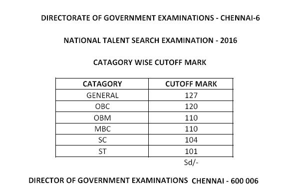 Tamil Nadu NTSE 2017 Result